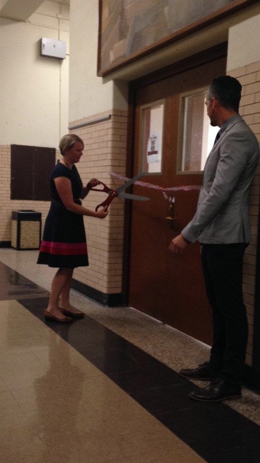 Assistant Principals Mrs. Hanly and Mr. Aura unveil the new Dance Studio at the Ribbon Cutting Ceremony.
