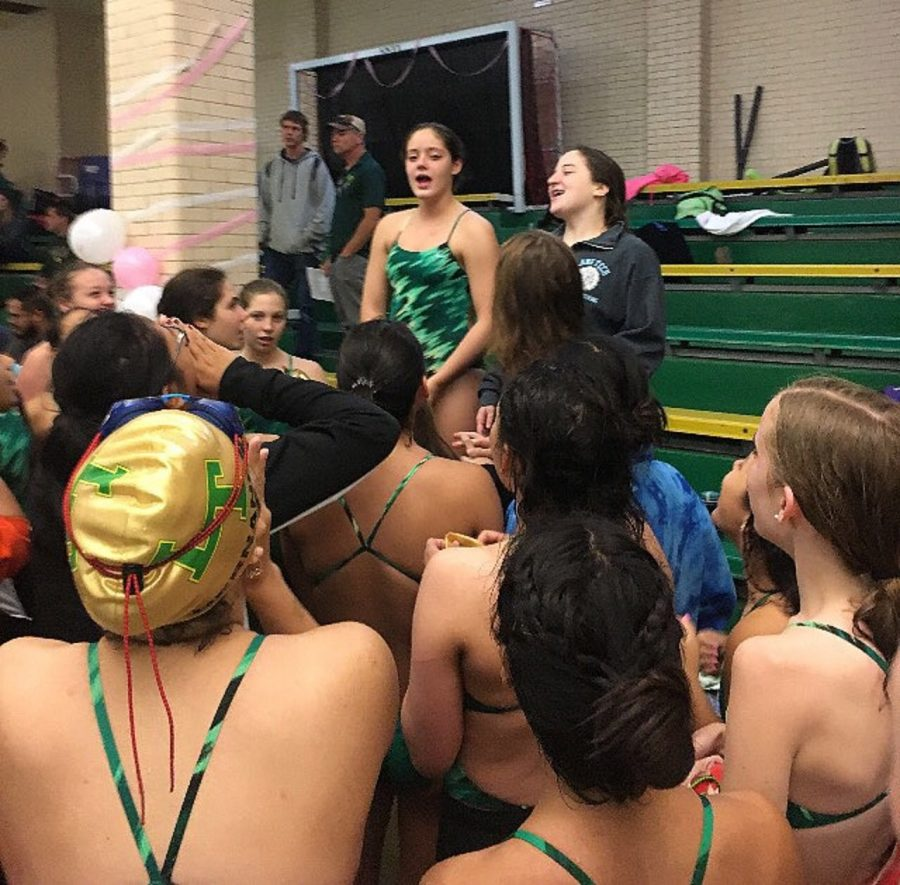 Captains Lexi Wright and Taylor Holderfield give a motivational speech before their meet with Von Steuben.