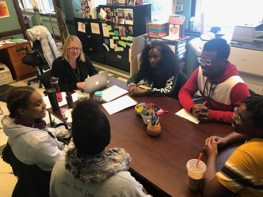Jayden Kuykendahl (center)  and Deanna James (participating in the African American focus group along with five other students