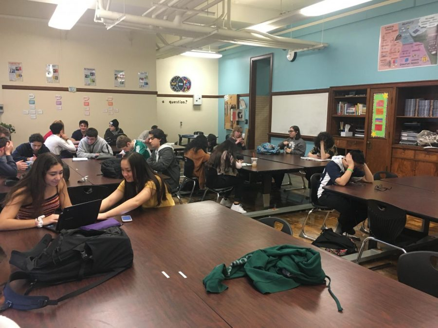 Students in Advisory using the time as a study hall during one of the bimonthly division periods.