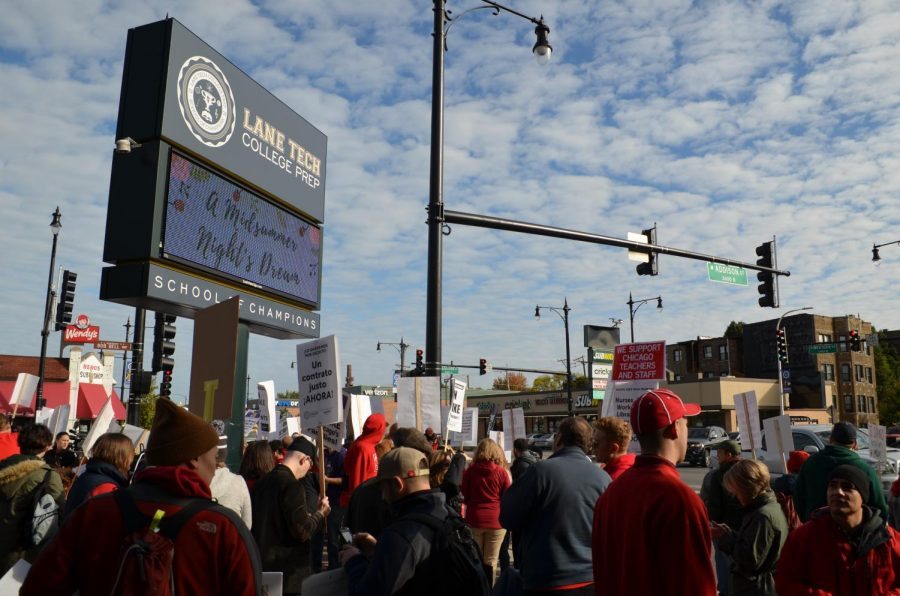 Teachers gathered outside Lane during weekdays of the 11-day strike. Five of the 11 days will be made up.