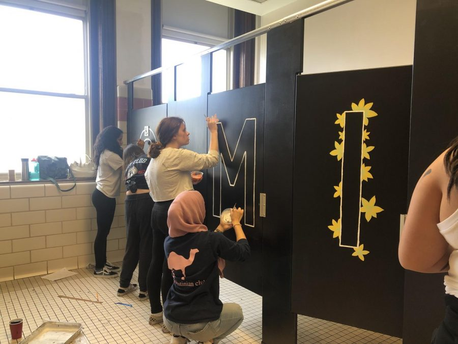Last school year, students in Ms. Diamonds 3D Design class volunteered to paint positive messages on bathroom stalls at Audubon Elementary school.