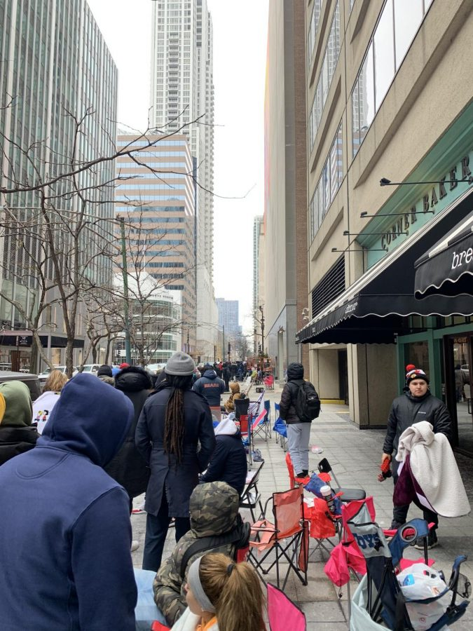 A first come first serve release at the Nike Chicago store on Feb. 9. The line started on the corner of Michigan and Erie and continued around the corner of the next block.