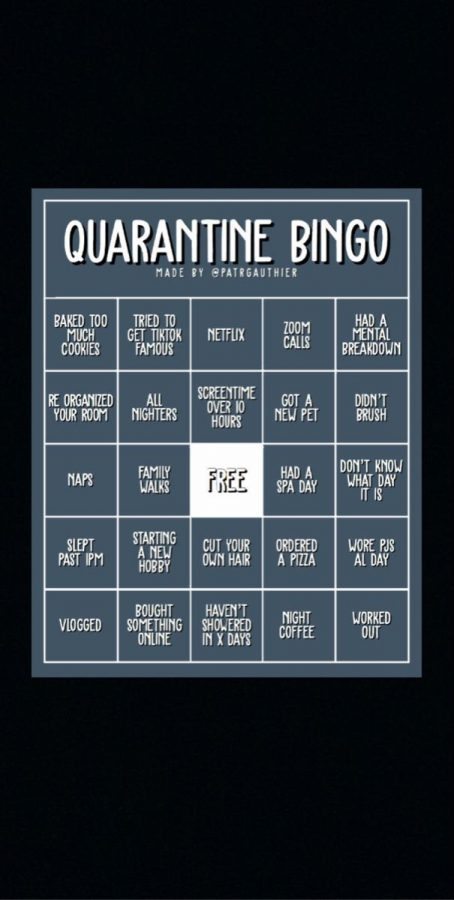 A quarantine bingo sheet created by @patrgauthier
