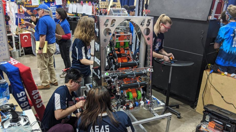 Lane's robotics team, the Chicago Style BotDogs, works on a robot in March 2020. (Photo courtesy of Mr. Law)