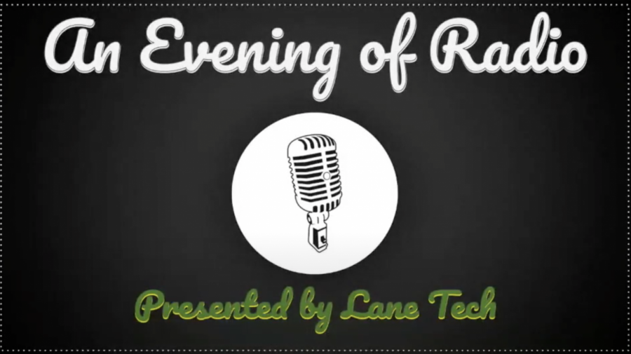 "The welcoming image as ""A Night of Radio"" starts. (Courtesy of Lane Drama Department)"