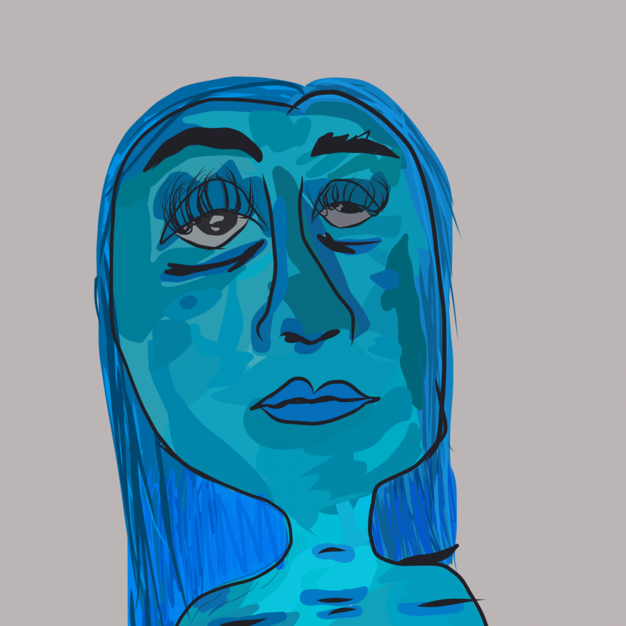 During one of my depressive episodes in late 2020, I drew what I felt like my face looked like. Depersonalized, I depicted myself as very asymmetrical with distorted features.
