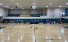 Lane Gymnasium being set up for girls basketball senior night, a 66-46 loss to Taft.