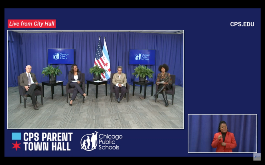 School Board President Miguel Del Valle, CPS CEO Janice Jackson, Mayor Lori Lightfoot, and Deputy Mayor for Education Sybil Madison at CPS' May 6 town hall. (Screenshot from CPS)