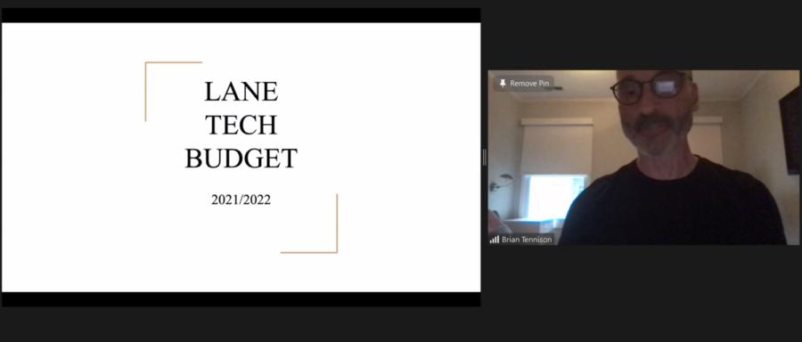 Lane Principal Brian Tennison gives the budget presentation at the May 18 Local School Council meeting. (Screenshot from meeting)