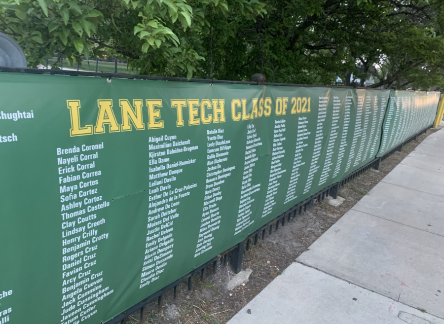 A senior appreciation banner hangs outside the Lane parking lot as graduation approaches on June 17.