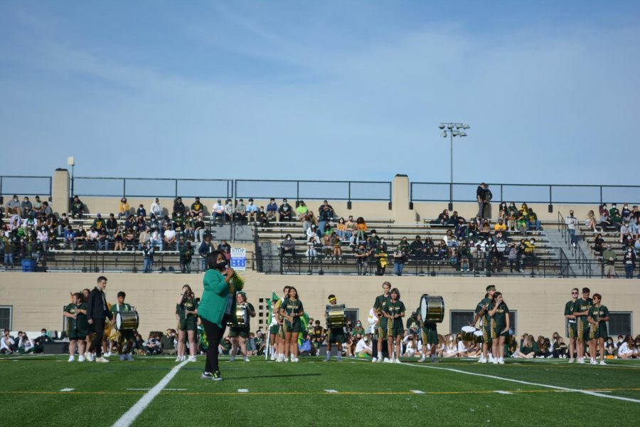 Principal Thompson addressing the students during the pep rally.