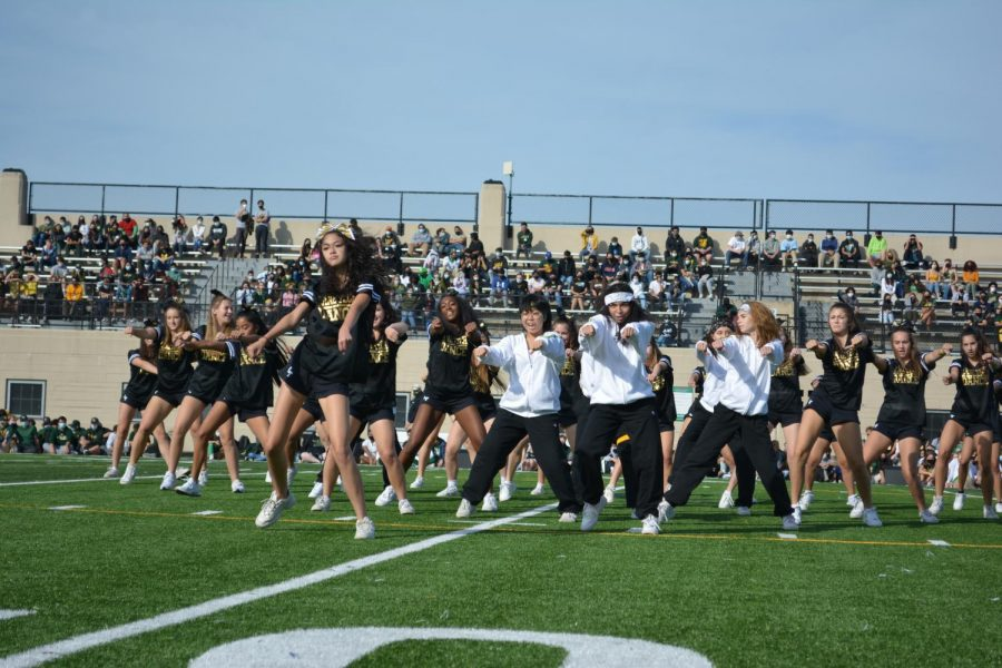 The dance team during their performance for the pep rally.