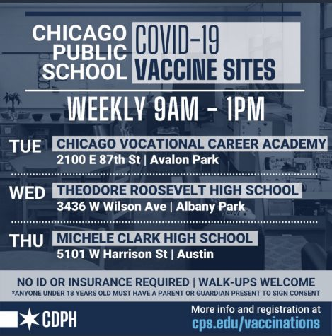 A poster from CPS advertising district vaccination events. (Screenshot from Chicago Department of Public Health)