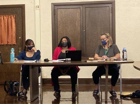 Community representative Ana Borja-Scales, Lane Principal Edwina Thompson and LSC Chairperson Emily Haite at September LSC meeting.